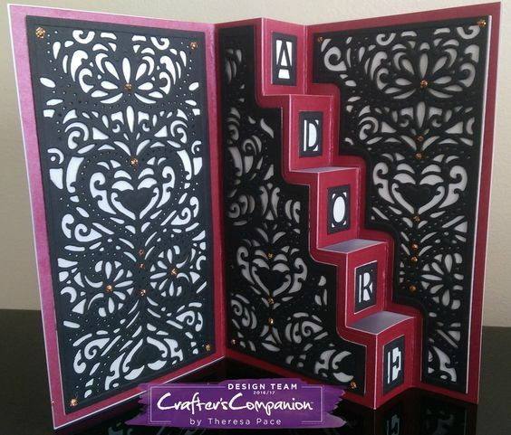 Stairway Card made using Crafter's Companion Die'sire Create a Card – Designed by Theresa Pace. #crafterscompanion