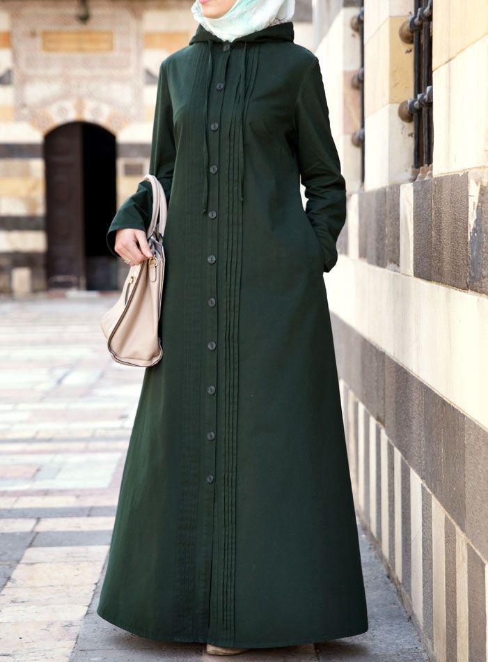 SHUKR USA   Hooded Jilbab with Pleats