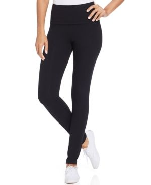 Style & Co Petite Tummy-Control Active Leggings, Only at Macy's - Black P/XL