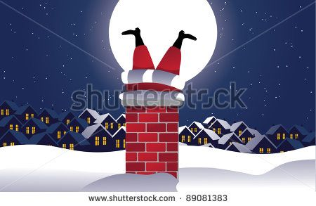 Santa Stuck in the Chimney Santa Claus is up on the rooftop, but he can't get down. EPS 8 vector, grouped for easy editing.