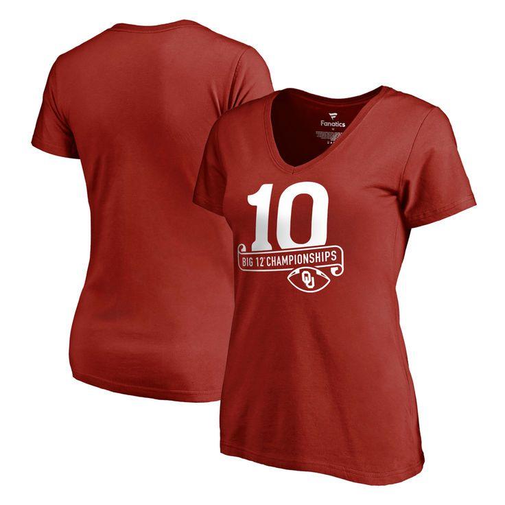 Oklahoma Sooners Fanatics Branded Women's 10 Big 12 Football Championships Slim Fit V-Neck T-Shirt - Crimson - $24.99