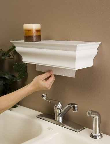 This crown molding shelf hides your paper towels. | 36 Genius Ways To Hide The Eyesores In Your Home