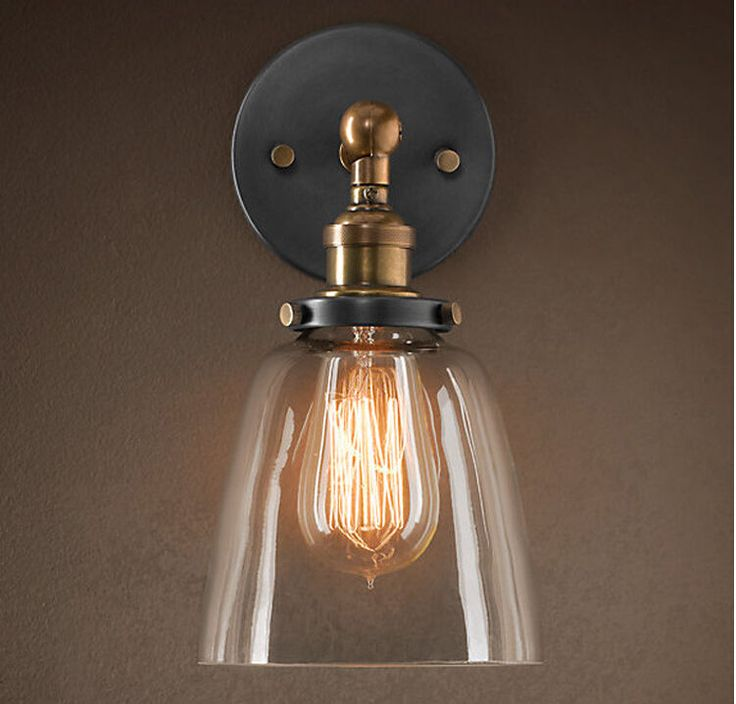 MODERN VINTAGE INDUSTRIAL LOFT METAL GLASS RUSTIC SCONCE WALL LIGHT WALL LAMP in Home, Furniture & DIY, Lighting, Wall Lights | eBay