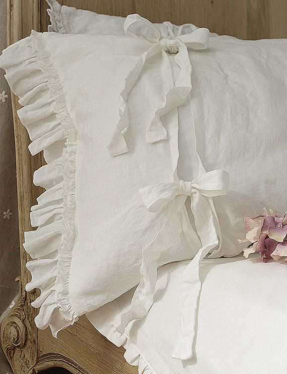 """Pre-washed linen pillowcase with double ruffles and ties. Pure pre-washed linen bedding, 20x24"""" 20x26"""" 26x26"""" 20x30"""" 20x36"""" white or gray."""