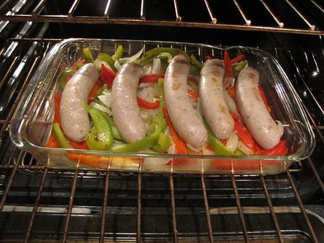 Baked Italian sausage with peppers and onions