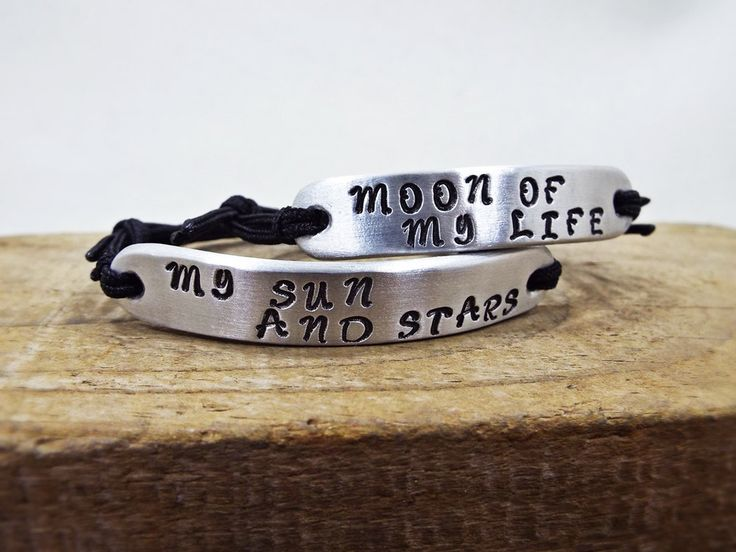 Moon Of My Life / My Sun And Stars - Set Bracelet for Couples - Personalized Aluminum Hand Stamped bracelets - Perfect Gift for Him and Her by Aluminiopassions on Etsy