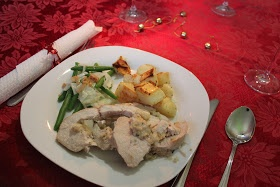 Failsafe chicken roll with fruit stuffing