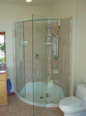 true frameless curved bent glass corner shower