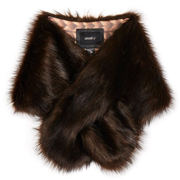 Unreal Fur Furocious Chocolate Faux Fur Scarf ($44) ❤ liked on Polyvore featuring accessories, scarves, brown, fake fur shawl, faux fur shawl, fake fur scarves, brown shawl and brown scarves