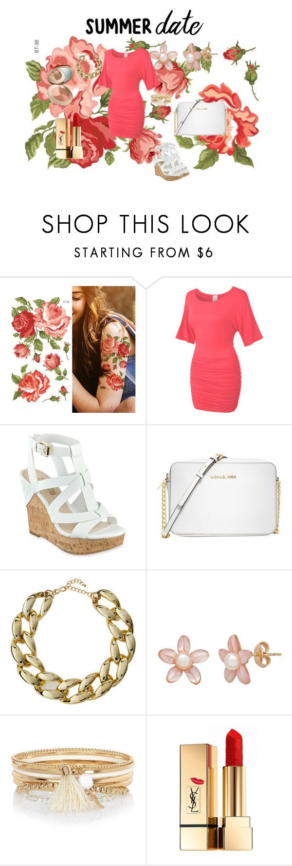 Summer Date by kelly17-kalymnos on Polyvore featuring LE3NO, GUESS, Michael Kors, Kenneth Jay Lane, River Island, Yves Saint Laurent, summerdate and rooftopbar