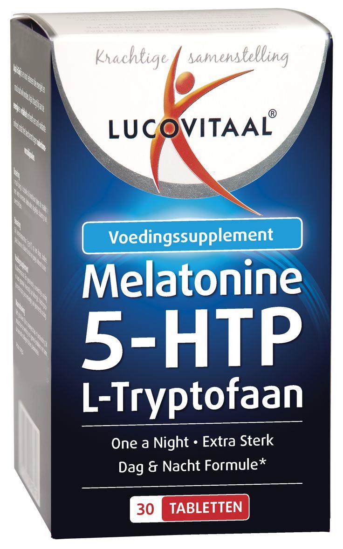 Lucovitaal Voedingssupplementen Melatonine 5-HTP L-Tryptofaan Tabletten 30Tabl  Lucovitaal Melatonine 5-HTP L-Tryptofaan. Melatonine L-Tryptofaan 5 mg One a day bevat 0299 mg pure Melatonine en 4701 mg L-Tryptofaan per gemakkelijk slikbaar tabletje. Melatonine is een lichaamseigen stof die in de pijnappelklier wordt aangemaakt. De natuurlijke productie van Melatonine in de hersenen is direct gekoppeld aan blootstelling aan licht. Neemt de blootstelling aan licht af dan komt de natuurlijke…