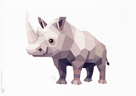 •••• Ice age rhino quality inkjet print of my original illustration ••••    •• JUST ONE  This geometric print is one in a constantly growing