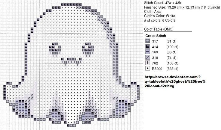 Ghost Perler Bead Pattern or Cross Stitch Chart