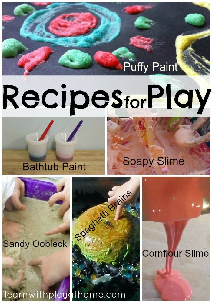 """Recipes for Play"" Great selection of easy and super FUN recipes for play :D learnwithplayathome.com"