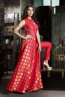 Show details for Classy red silk suit with zari detailing