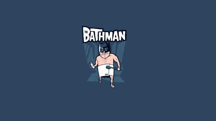 General 1920x1080 minimalism humor simple background Batman bath comics logo brush flip flops towel blue background