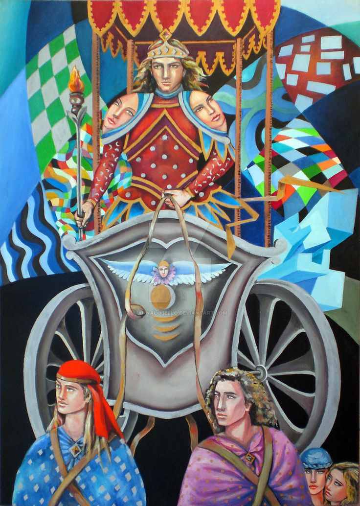 the tarot - the chariot 7 oil on panel 50x70 cm