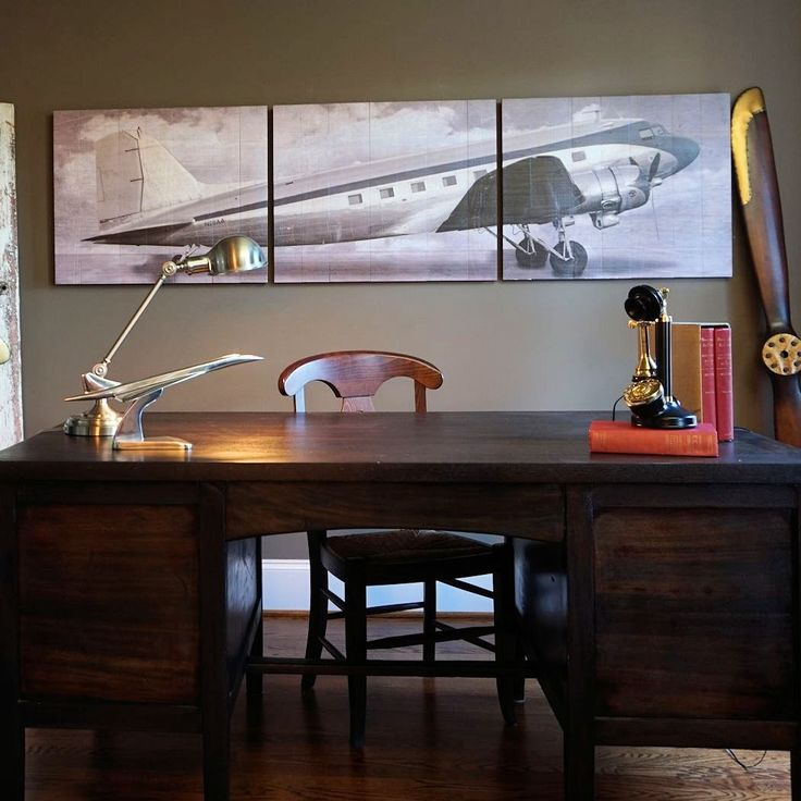 Vintage Aviation Wall Decor : Vintage dc airliner wooden triptych aviation wall art