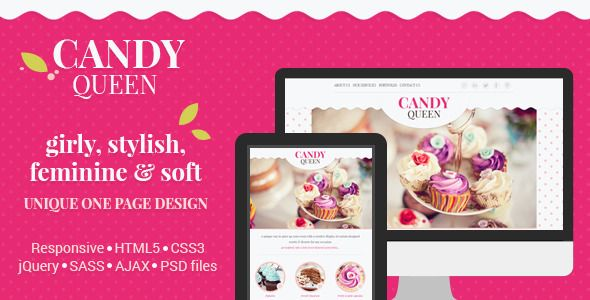 Candy Queen - Responsive One Page Portfolio Site Templates / Creative / Portfolio by magethemes
