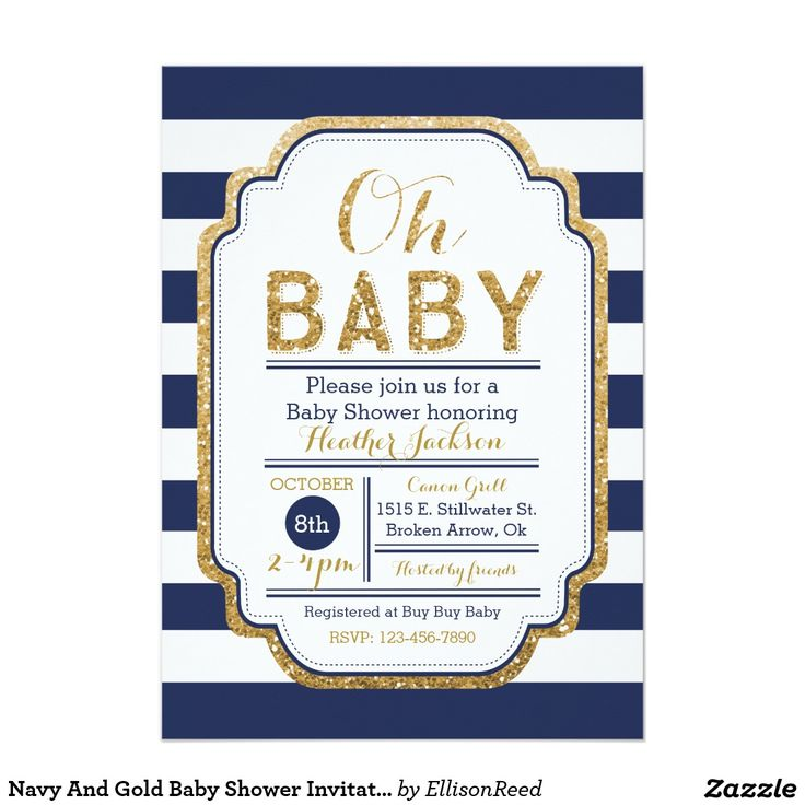 Where To Buy Invitations For Baby Shower Part - 49: Navy And Gold Baby Shower Invitation, Baby Boy 13 Cm X 18 Cm Invitation Card