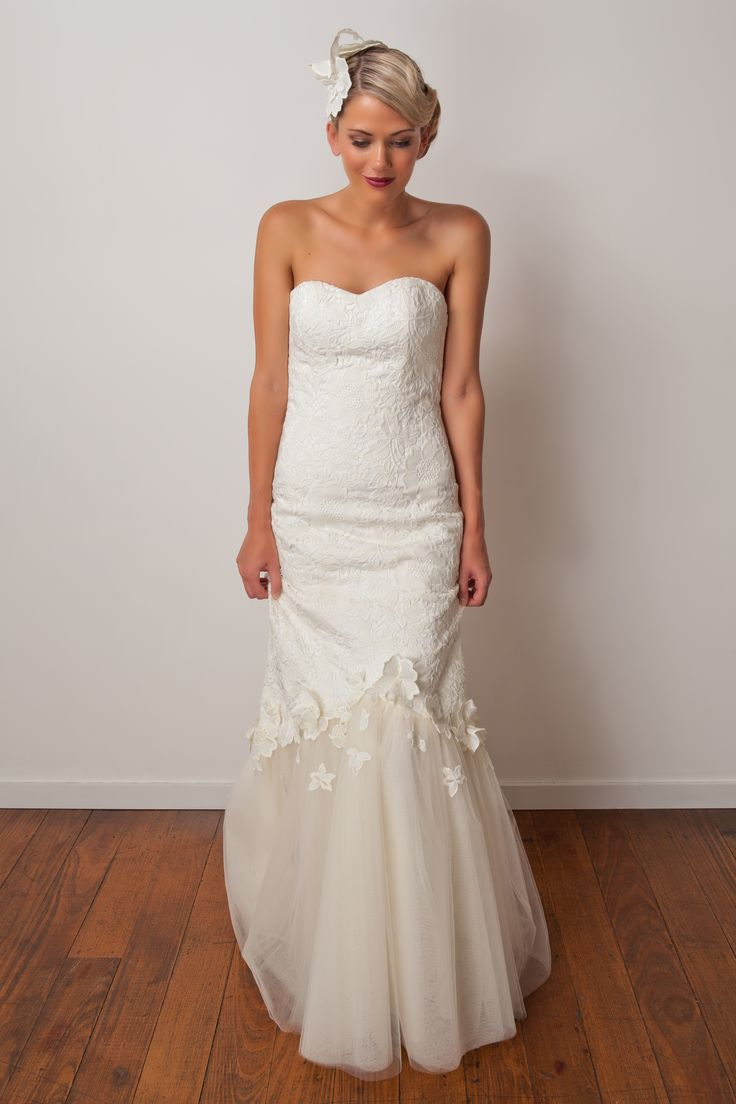 'Audrey' gown. Mermaid gown with tulle skirt and gorgeous floral lace bodice. Perfect for a garden wedding.