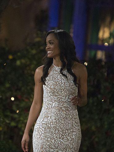 3d9597ed Rachel wears a Swarovski crystal-encrusted Randi Rahm gown for season  premiere/First Rose Ceremony