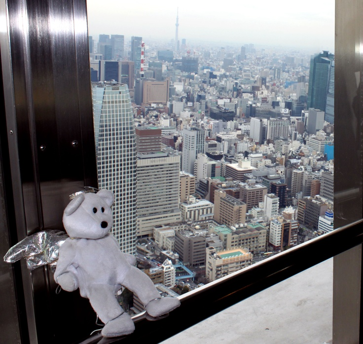 At the top of the Tokyo Tower!!!! That's the Tokyo Sky Tree in the background.