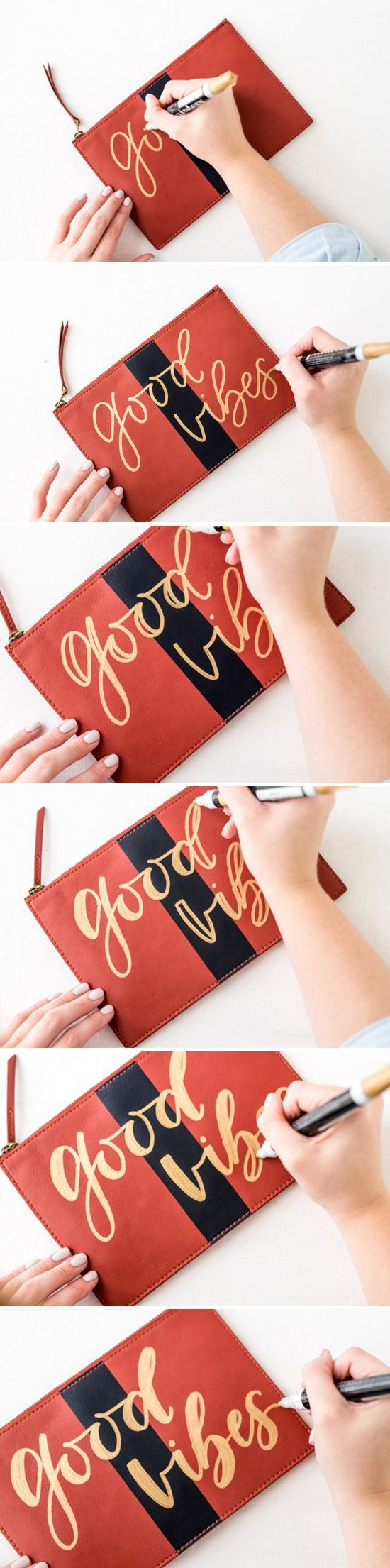 How to hand letter a clutch (the easy way) with a paint marker specially made for writing on leather and fabrics. @elmersproducts #StyleByAisle #PaintersStyle