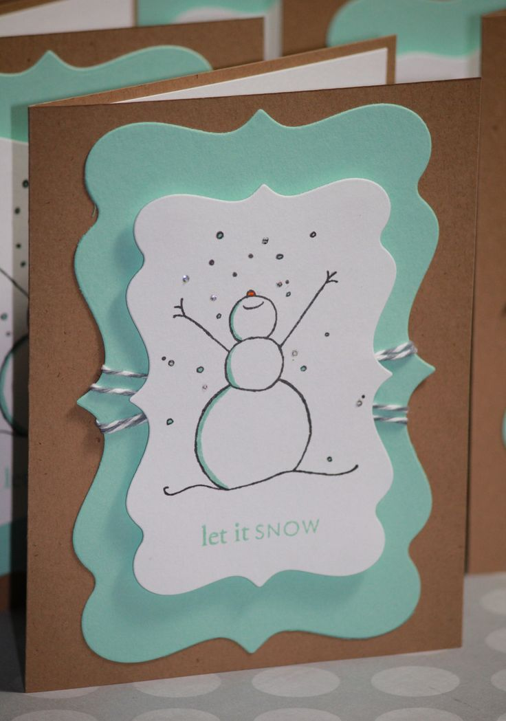 Set of Eight Handmade Christmas Cards Holiday Cards with Snowman Happy Holidays. $16.00, via Etsy.