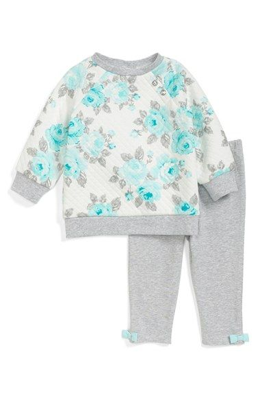 Little Me Quilted Raglan Sleeve Sweatshirt & Leggings (Baby Girls) available at #Nordstrom
