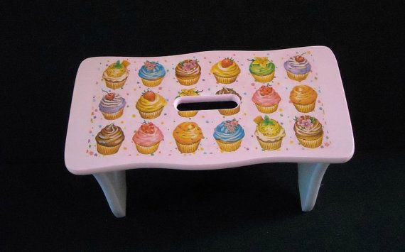 Pink and lilac child's wooden bench  step stool by HandmadeByFiona