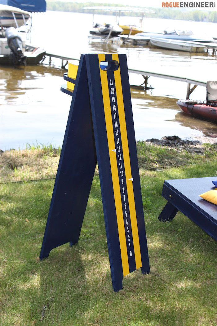 DIY Cornhole Scoreboard Plans  - Free Plans | rogueengineer.com #CornholeScoreboard #OutdoorDIYplans