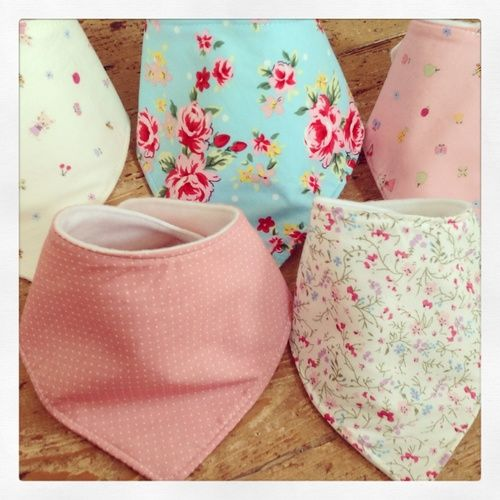 Girls Adjustable fleece lined Dribble bib - just gorgeous for a baby shower present or mat leave present