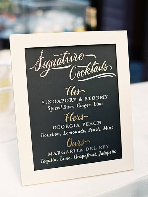 His & Hers Signature Cocktail Sign Ideas