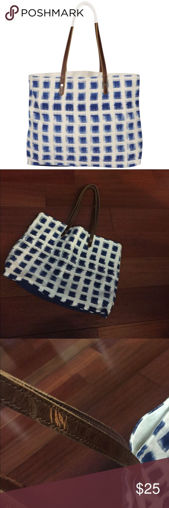 French Connection Ikat Tote Bag Like new! I probably used this a handful of times. I did wash it and the indigo dye seeped into the inside of the bag. No imperfections on the outside though! French Connection Bags Totes