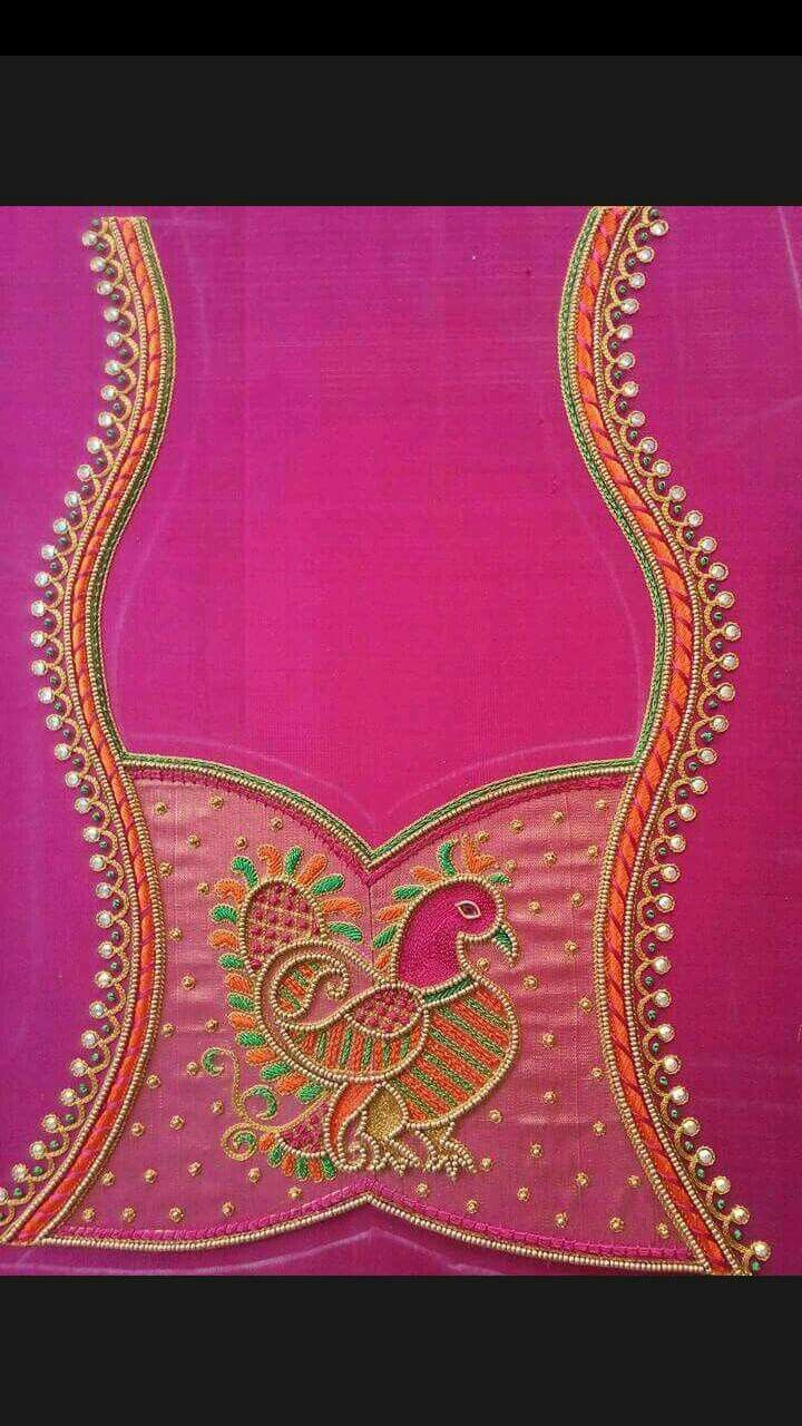 Blouse back neck hand embroidery designs best