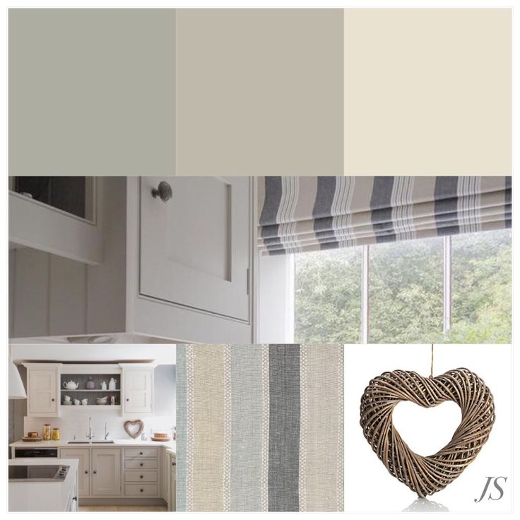 Handmade Kitchen: Cheshire Furniture Company - Paint: Farrow & Ball - Manor House Gray, Pavillion Gray, Skimming Stone - Similar Fabric: Vanessa Arbuthnott 'Scandi Stripe' Cool - Wicker Heart: M&S. Mood Board Compiled By Joanne Sandford