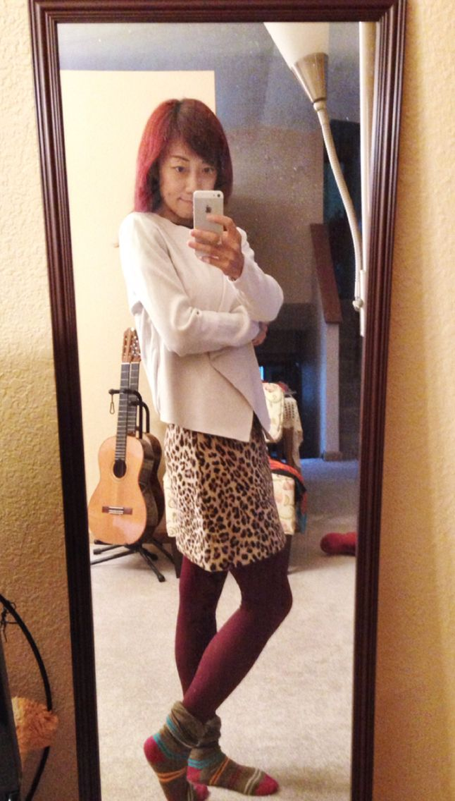 Burgundy/wine fox tight, leopard print Zara A-line short skirt, white cardigan