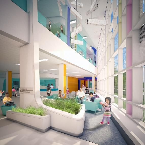 FIRST LOOK: Children's Hospital of Philadelphia Specialty Care Center | Healthcare Design --- Waiting areas offer a variety of spaces for patients and family members to use. Rendering: EwingCole.