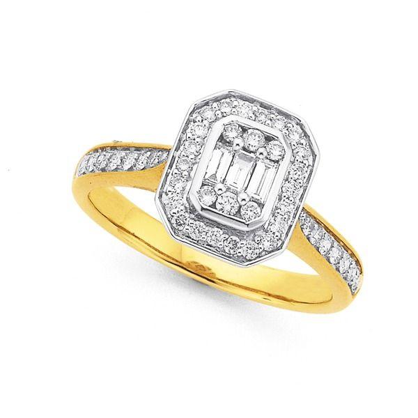 9ct Diamond Ring Total Diamond Weight=.50ct