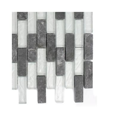Splashback Tile Tectonic Brick Black Slate and Silver Glass Floor and Wall Tile - 6 in. x 6 in.Tile Sample-R6C3 GLASS MOSAIC TILE at The Home Depot Option 4