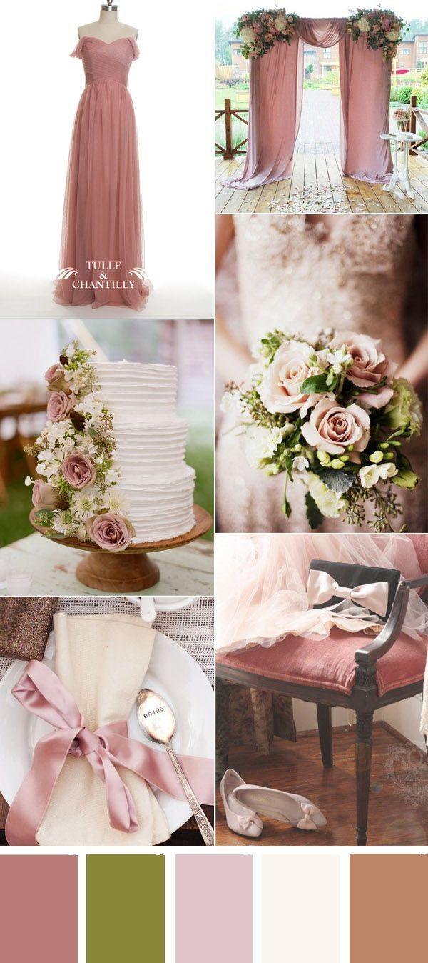 romatic dusty rose wedding color ideas