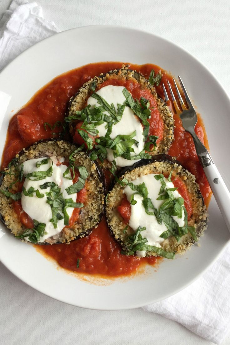 The secrets on how to make healthy baked eggplant parmesan recipe with panko bread crumbs and fresh mozzarella!
