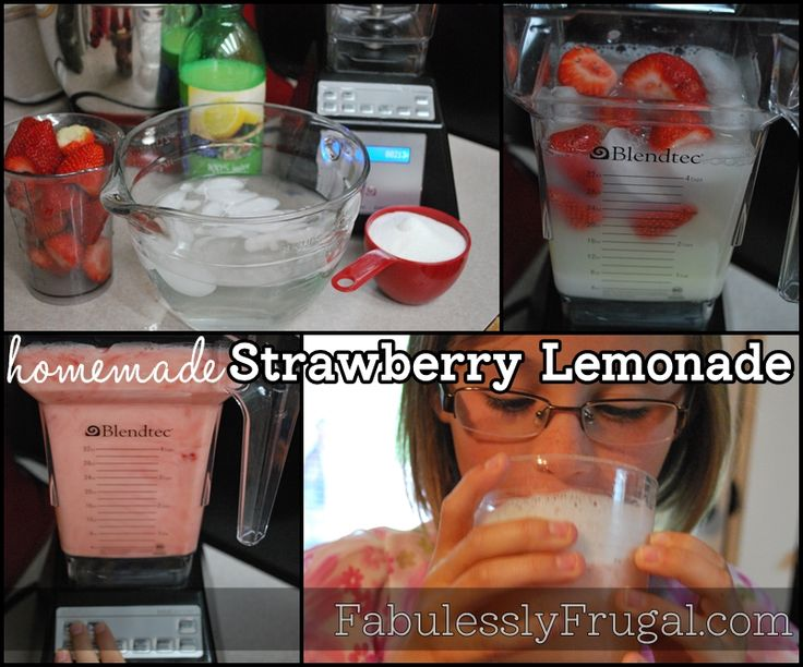 Easy Homemade Strawberry Lemonade Recipe, a perfect summertime treat!  Only 4 ingredients and it's ready in a snap!  http://fabulesslyfrugal.com/2012/06/easy-homemade-strawberry-lemonade-recipe.html