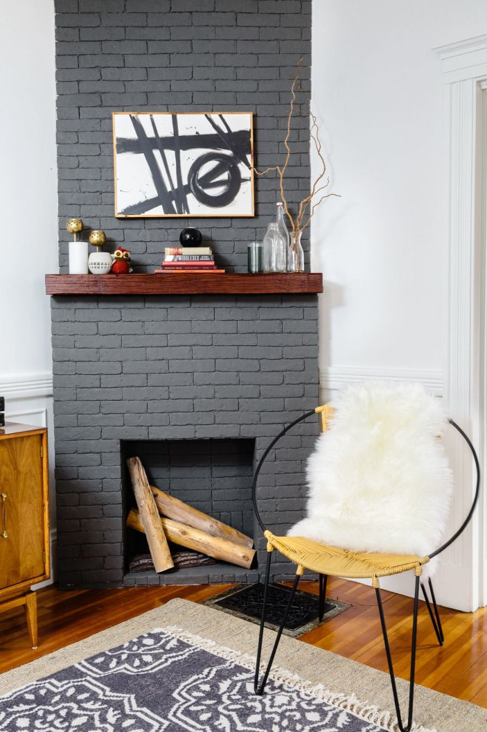 Dark Gray Painted Brick Fireplace Shannon Tate Interiors Home Fireplace Painted Brick Fireplaces Home Decor