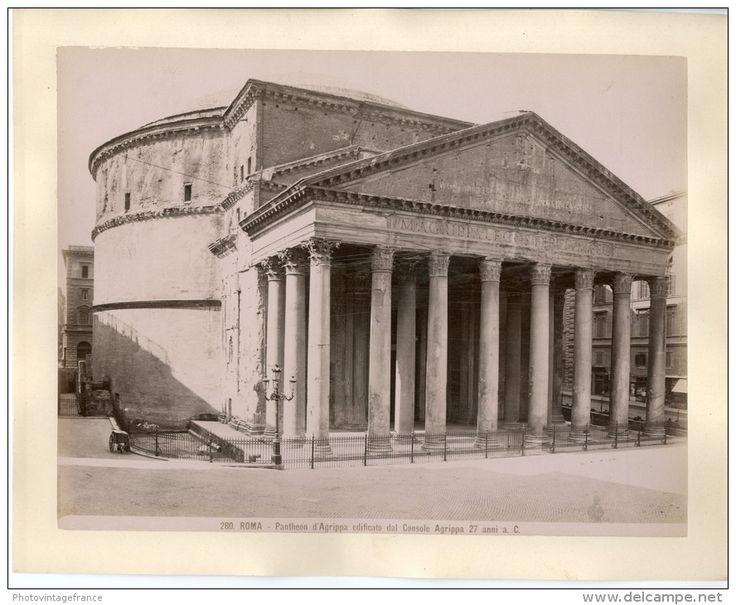 Italie, Roma, Pantheon d'Agrippa  Vintage albumen print.   Tirage albuminé   20x25   Circa 1880