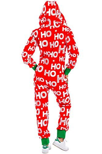 Womens Christmas Onesie Pajamas - Red HoHoHo Santa Adult Jumpsuit ... 63077a9eb