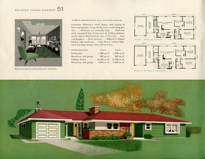 1950s Homes 1950s house layout | the celotex book of today's new homes | art