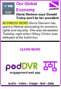 #BUSINESS #PODCAST  Our Global Economy    Gloria Steinem says Donald Trump won't be her president    READ:  https://podDVR.COM/?c=5616d115-df65-38fd-706e-2bd1dcb02ee0