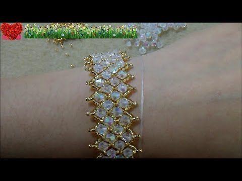 How to bead funny accessory:Mesh Diamond Beads Bracelet – YouTube